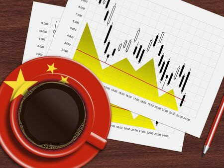 stock prices: coffee with chinese flag and stock exchange chart lying on wooden desk