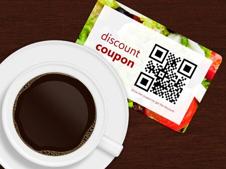 coupon: cup of coffee with discount coupon lying on wooden desk. photo of food is authors property. qr code is designed and generated by author. Stock Photo