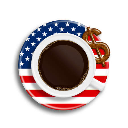 usa flag: coffee in usa flag cup with dollar cookie isolated over white background