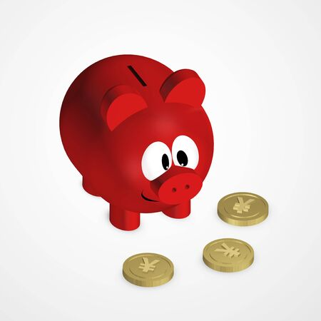 renminbi: red piggy bank with yuan coins over bright background