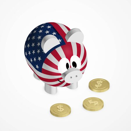 us coin: piggy bank with american flag and dollar coins over bright background