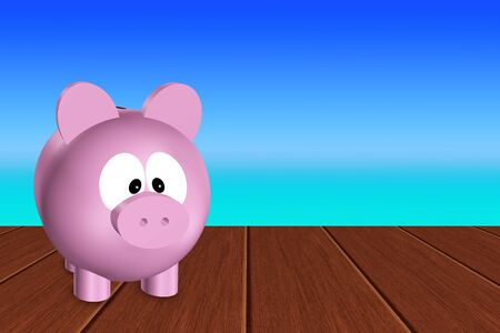 accountancy: pink piggy bank standing on wooden terrace with sea as a background nad place for text