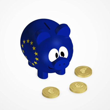 european euro: piggy bank with european union flag and euro coins over bright background