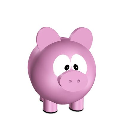 cost savings: pink cartoon piggy bank isolated over white background Stock Photo