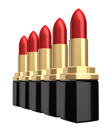 isolated over white: row of 3d lipsticks isolated over white background