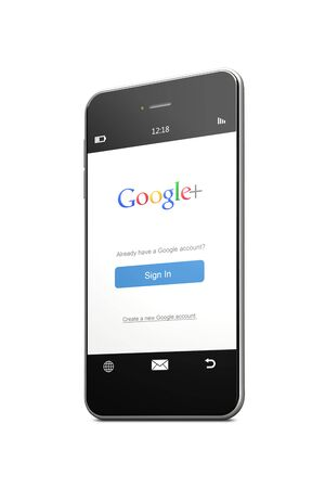 google plus: Poland, Gdańsk - 8th of August 2015. Mobile phone with google plus sign in page isolated over white background