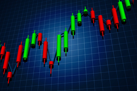stock trading: forex candlestick chart over dark background