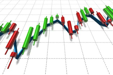candlestick: stock exchange candlestick over white graph