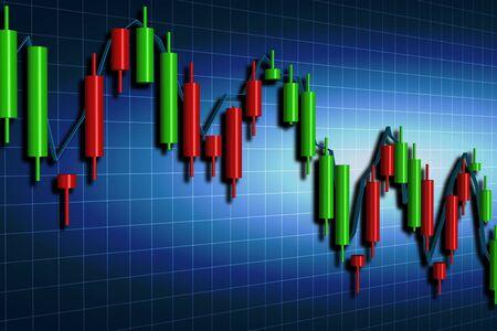 stock broker: forex candlestick chart over dark background