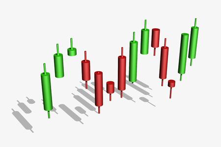 whitebackground: candlestick chart isolated over whitebackground