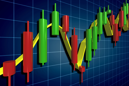 candlestick: stock exchange candlestick chart over dark background Stock Photo