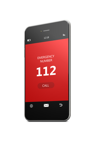emergency number: mobile phone with 112 emergency number over white background Stock Photo