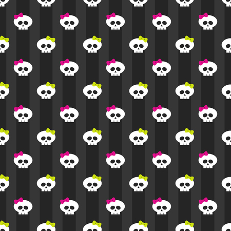 seamless pattern with white funny skulls over dark background Stock Photo