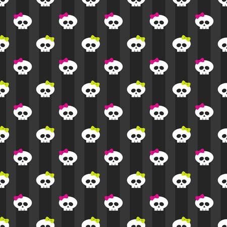 glum: seamless pattern with white funny skulls over dark background Stock Photo