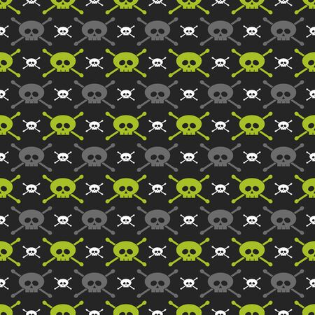 seamless pattern with green, gray and white skulls over dark background Stock Photo