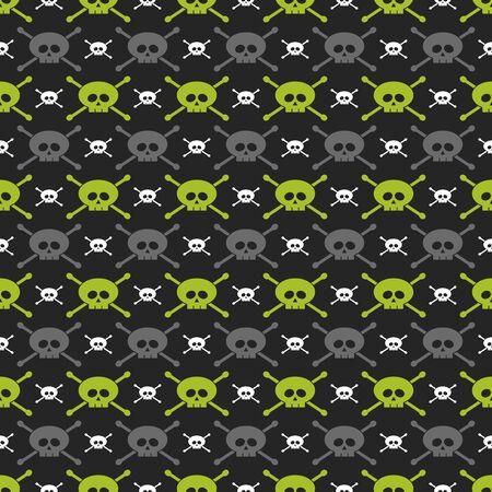 glum: seamless pattern with green, gray and white skulls over dark background Stock Photo