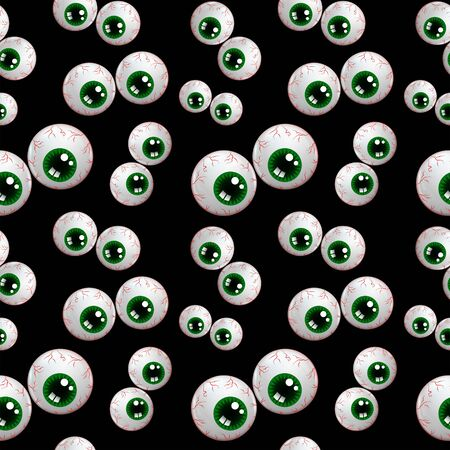 spectre: seamless halloween pattern with cartoon eyes over black background Stock Photo