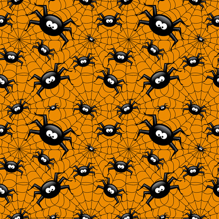 spider's web: halloween seamless pattern with spider and spiders web over orange background