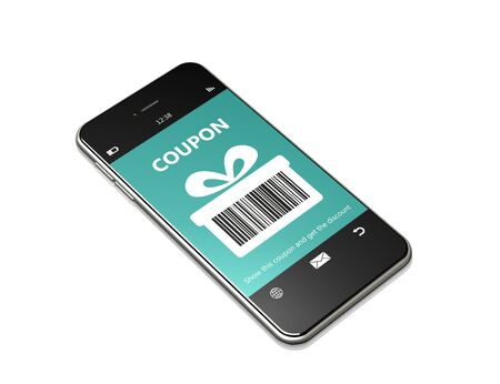 discount coupon: mobile phone with discount coupon over white background
