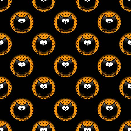 hollows: seamless halloween pattern with cartoon owls in hollows over black background