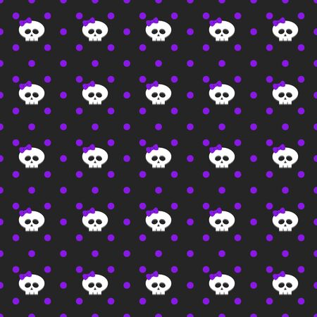 seamless pattern with dots and skulls over dark background