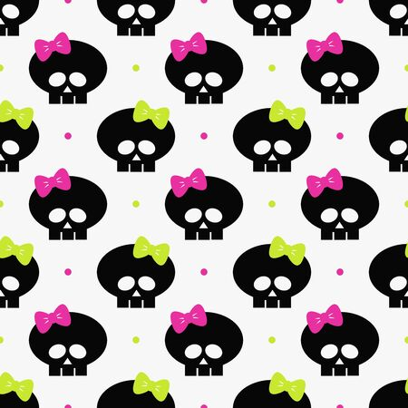 seamless pattern with funny halloween skulls over white background