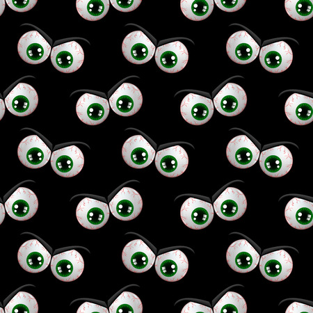 spectre: seamless pattern with halloween angry eyes over black background Stock Photo