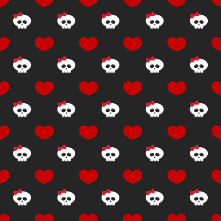 glum: seamless pattern with hearts and skulls over dark background