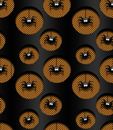 recess: seamless halloween pattern with spiders in holes over dark background Stock Photo