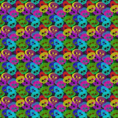 glum: seamless pattern with colorful  skulls over dark background