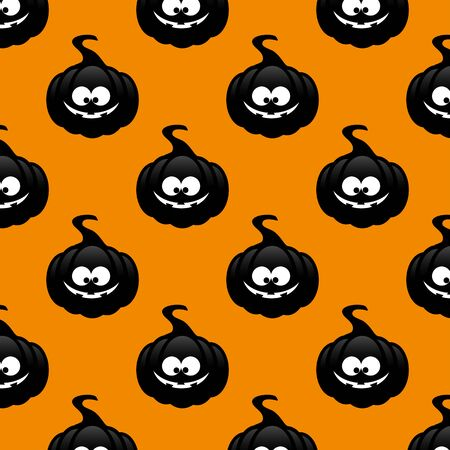 cucurbit: seamless pattern with black pumpkin over orange background