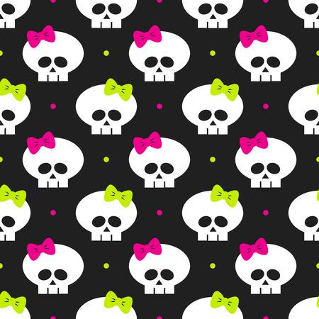 glum: seamless pattern with funny halloween skulls over black background