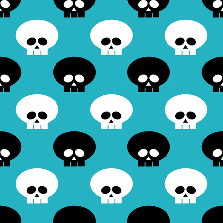glum: seamless pattern with black and white skulls over blue background