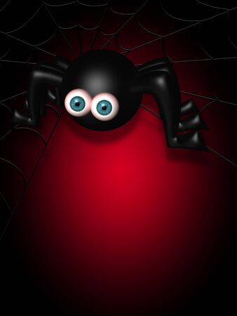spider web: halloween spider on spider web with place for text over dark background
