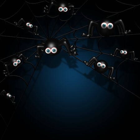 terrific: halloween spiders on spider web with place for text over dark background
