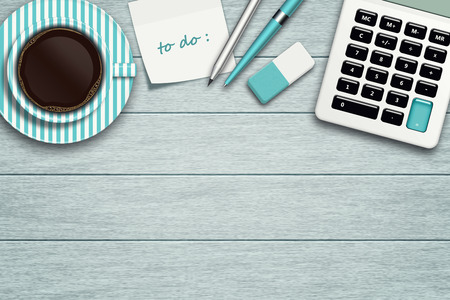 workspace with calculator, stationery, note, coffee and place for text