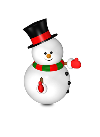 look up: cartoon snowman with thumbs up isolated over white background