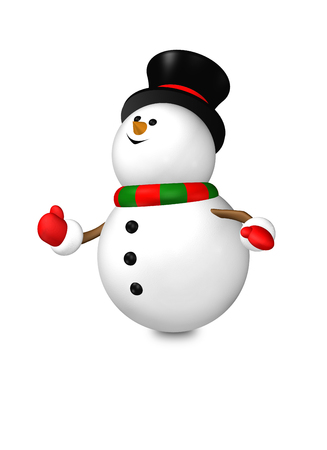 isolated over white: cartoon snowman isolated over white background
