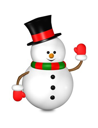 snowman isolated: cartoon snowman isolated over white background
