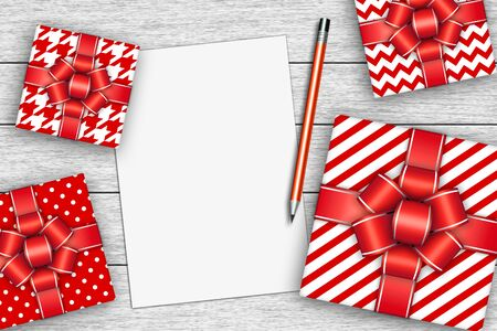chit: presents with sheet of paper and pencil over wooden desk