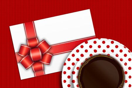 red tablecloth: empty blank with bow and coffee lying on red tablecloth Stock Photo