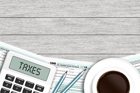 1040 tax form with calculator and coffee lying on wooden desk with place for text