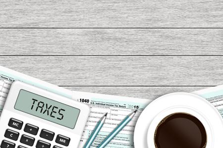 1040 formularz podatkowy z kalkulatora i kawy leżącego na drewniane biurko z miejscem na tekst Zdjęcie Seryjne