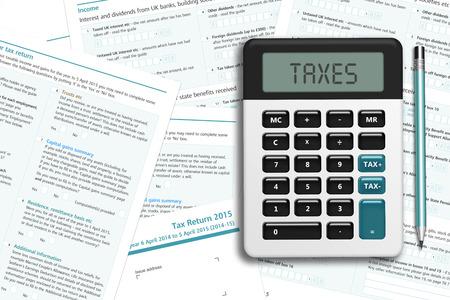 taxes: formulario de impuestos del Reino Unido con la calculadora sobre el escritorio de madera con lugar para el texto