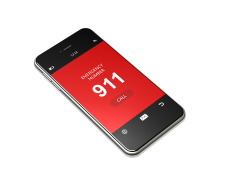 emergency number: mobile phone with 911 emergency number lying on white background Stock Photo