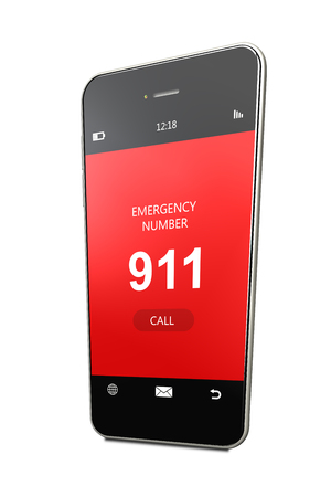 emergency number: mobile phone with emergency number 911 isolated over white background Stock Photo