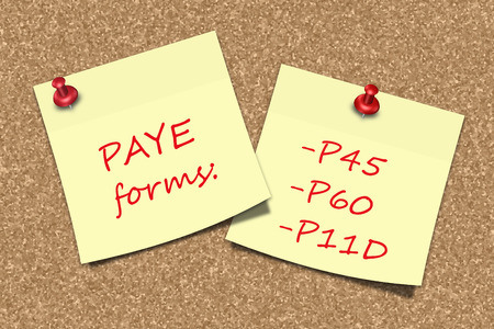 pin board: PAYE forms information sticky notes pinned to pin board Stock Photo