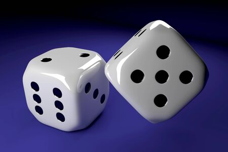 lying: two shiny dice lying on blue table