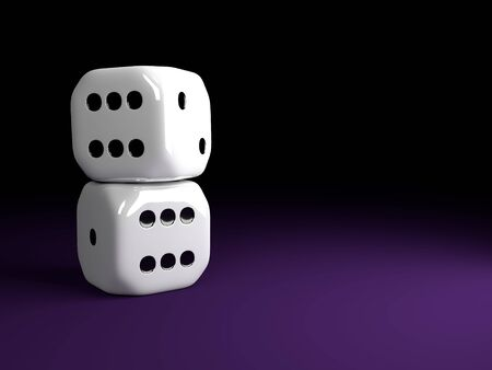 craps: two shiny dice lying over violet table with place for text