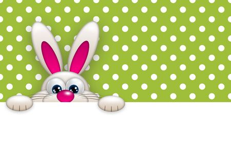 paschal: easter bunny holding empty banner over light green dots